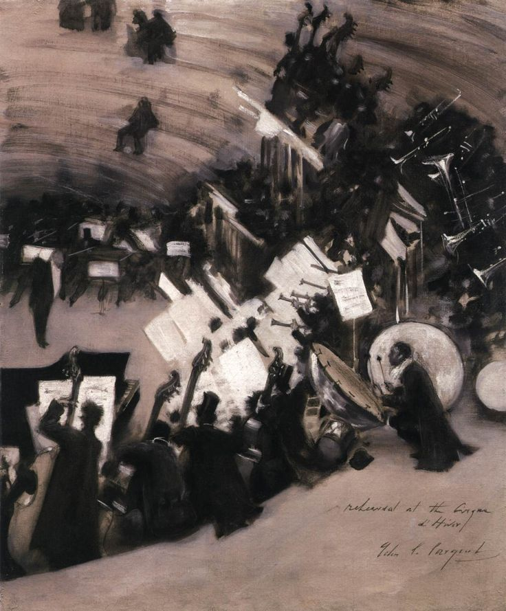 SARGENT, John Singer  [ 1856-1925]  Rehearsal of the Pasdeloup Orchestra at the Cirque d'Hiver