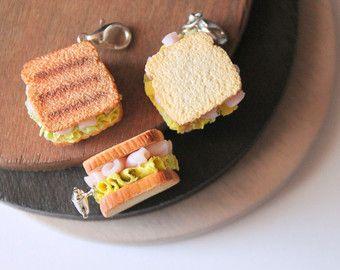 Polymer clay sandwich charm. Miniature food jewelry by Burgundy Pumpkin