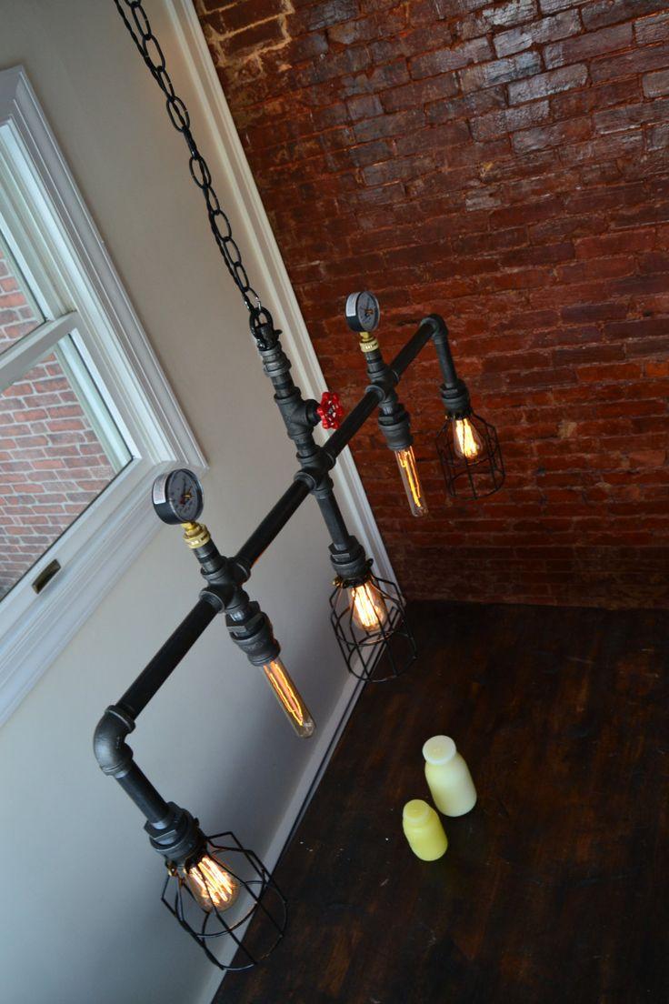 Hanging Multiple Pendant Industrial Pipe Light by WestNinthVintage