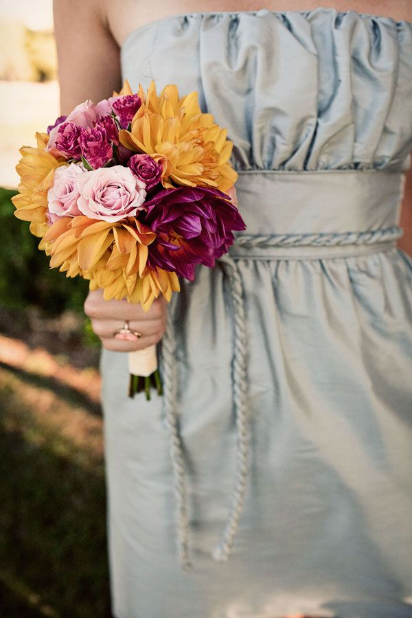 ice-blue-bridesmaids-dresses-fuschia-yellow-bouquets..Love Bridesmaid dress