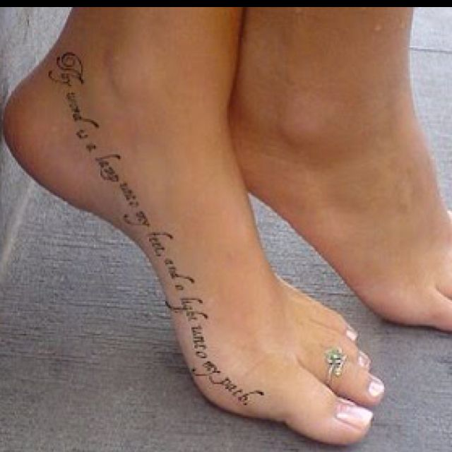 "Love this tattoo, especially love the placement. ""Thy word is a lamp unto my feet, and a light unto my path"""