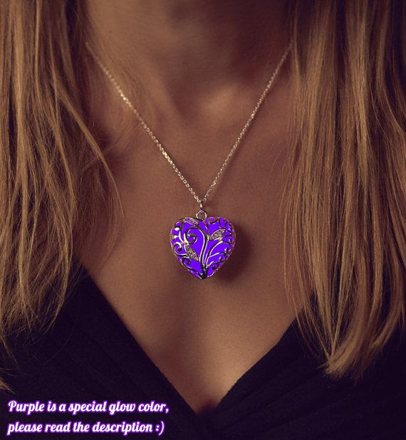 Vel - Purple Glowing Heart Necklace - Glow in the Dark - Purple Necklace - Violet  - Gifts for Her - Glowing Jewelry - Purple Jewelry
