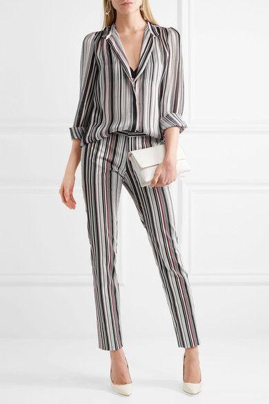 Giambattista Valli | Striped cotton-blend twill slim-leg pants | NET-A-PORTER.COM