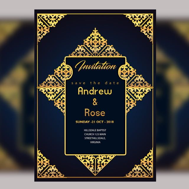 قالب بطاقة دعوة زفاف تصميم مع الحدود الذهبية الزهور الإطار الملكي Wedding Invitation Card Design Wedding Invitation Cards Rustic Wedding Invitation Card