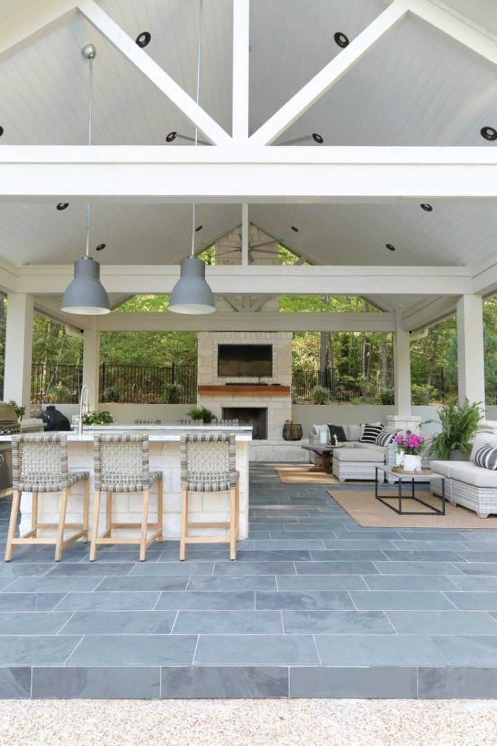 Outdoor Kitchen Pavilion And Pool House Patio Ideas Outdoor Rooms Backyard Kitchen Outdoor Kitchen Design