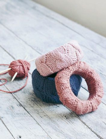 I don't know how to knit, but maybe old sweaters would work?