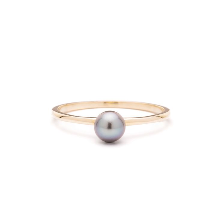Made in 14k solid gold with a real 4.5 - 5 mm  freshwater pearl. An atypical black pearl set on a minimalistic softly hued 14k gold band. Made for everyday wear.Everyday fine jewelry, minus the markups,Mejuri.