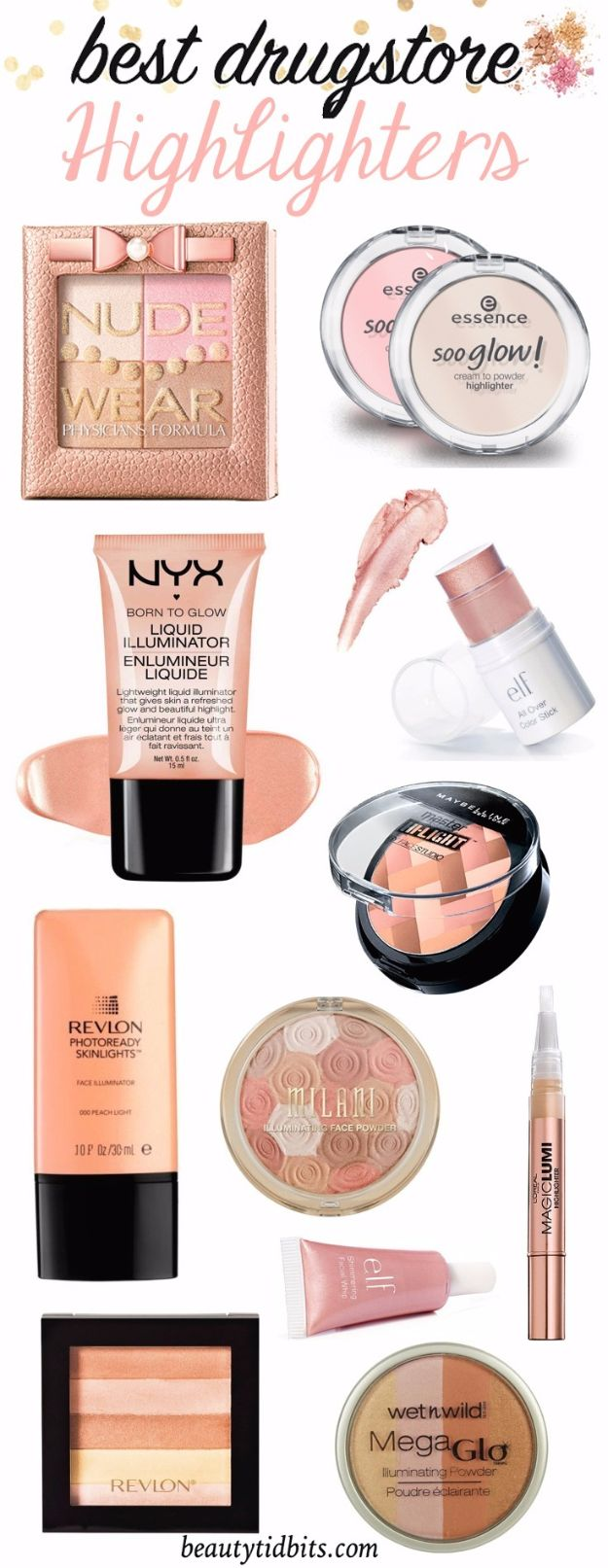 Best Drugstore Makeup Dupes- Best Drugstore Highlighters - Simple DIY Tutorials That Cover The Best Drugstore Dupes And Products For Foundation, Contouring, Lipsticks, Eye Concealer, Products For Oily Skin, Dupe Brushes, and Primers From 2016 And Places Like Target. These Are Cheap And Affordable - http://thegoddess.com/best-drugstore-makeup-dupes