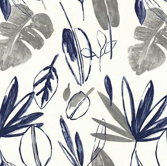 Navy Blue Grey Modern Floral Upholstery Fabric by PopDecorFabrics