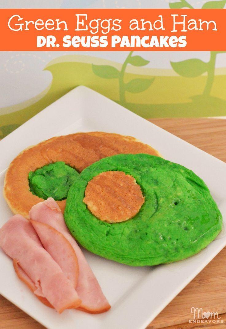 """Fun Green """"Eggs"""" and Ham Dr. Seuss Pancakes"""