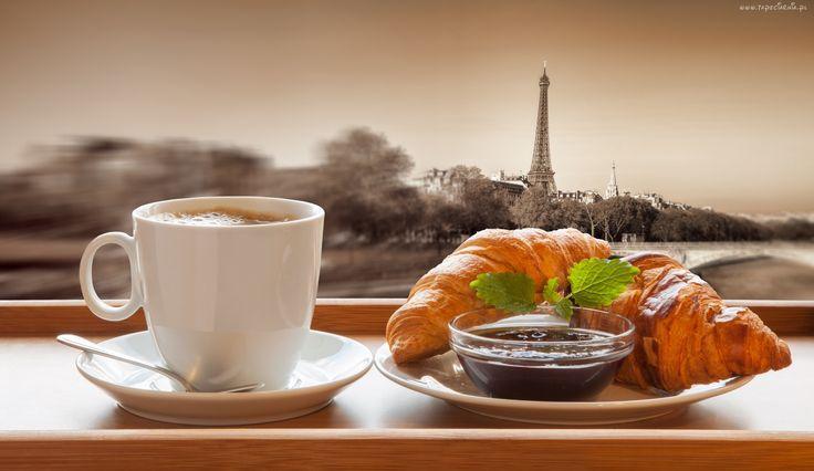 Śniadanie, Rogalik, Kawa, Paryż, Wieża, Eiffla