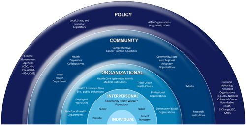 Illustration of the Colorectal Cancer Control Program's Social Ecological Model
