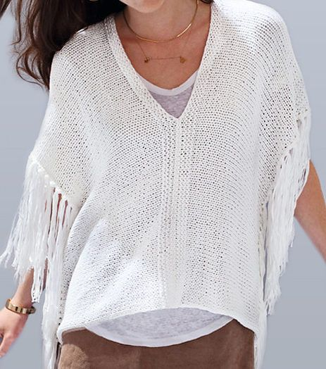 Free Knitting Pattern for Poncho Top With Fringe - Airy fringed poncho is knit in two pieces with stockinette and garter stitch. Designed by Phildar Design Team. Available in English, French, and Dutch. Sizes 34/36, 38/40, 42/44, 46/48, 50/52