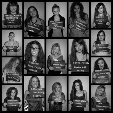 Bachelorette Party Mug Shots! Morning after with something funny/naughty each girl did the night before (: