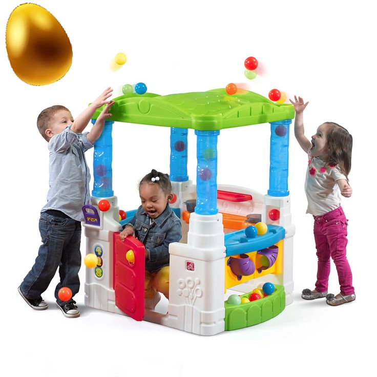 It's time to have a ball with the the WonderBall Fun House by Step2! This magical playhouse has a bright color scheme and open design that will fascinate children. Toddlers will develop their fine motor skills and hand-eye coordination as they toss the balls onto the roof. The compact frame of the fun house will fit inside a playroom or outside in the yard.