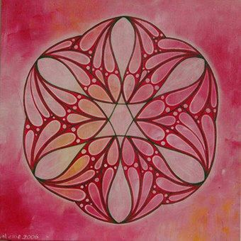 """Name: Mandela """"pink Star of David"""".  Significance: to accept love without criticism.  Mandala means """"sacred circle."""" It's a very colorful painting that has a central point, circles, geometric shapes and symmetry. Each person is attracted to colors and shapes which reflect his inner self and inspire his feelings of harmony , peace and joy. $59"""