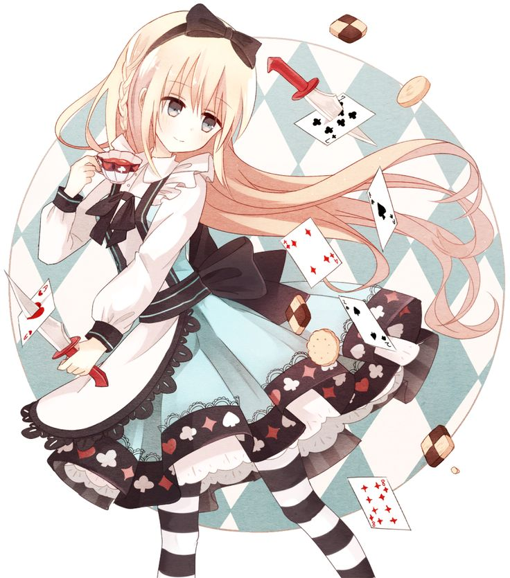 ✮ ANIME ART ✮ Alice in Wonderland. . .Alice. . .dress. . .poker suit. . .striped socks. . .apron. . .teacup. . .knife. . .playing cards. . .long hair. . .hair bow. . .cute. . .kawaii