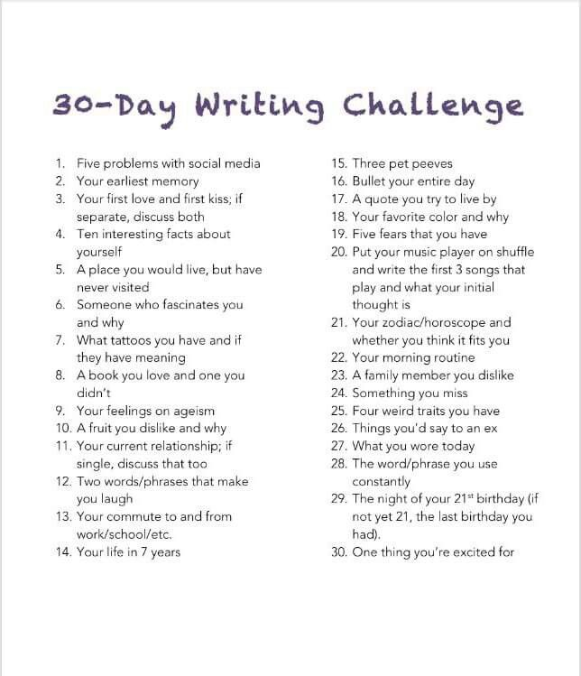 30 day writing challenge would revise some of the prompts to use in high school - Writing Essays Topics