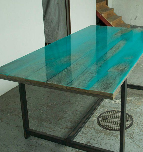 Attractive Turquoise Epoxy Color Covered Wood Table Top By Japanese Designer Jo  Nagasaka Of Schemata Architecture Office. Jo Nagasaka Originally Started To  Apply The ...