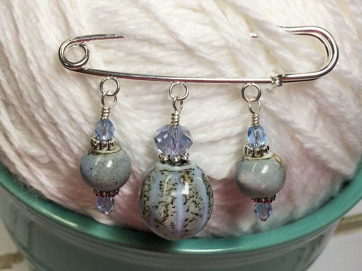 Frost Blue Glazed Ceramic Kilt Pin/ Shawl Pin