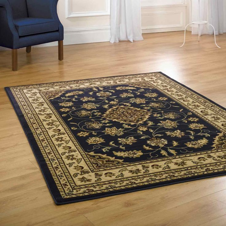Sherborne Traditional Rugs In Navy Blue Free Uk Delivery