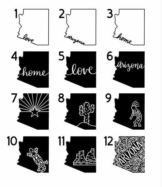 Pin By Allison Wedincamp On Cricut State Tattoos State Shape Art Arizona Tattoo