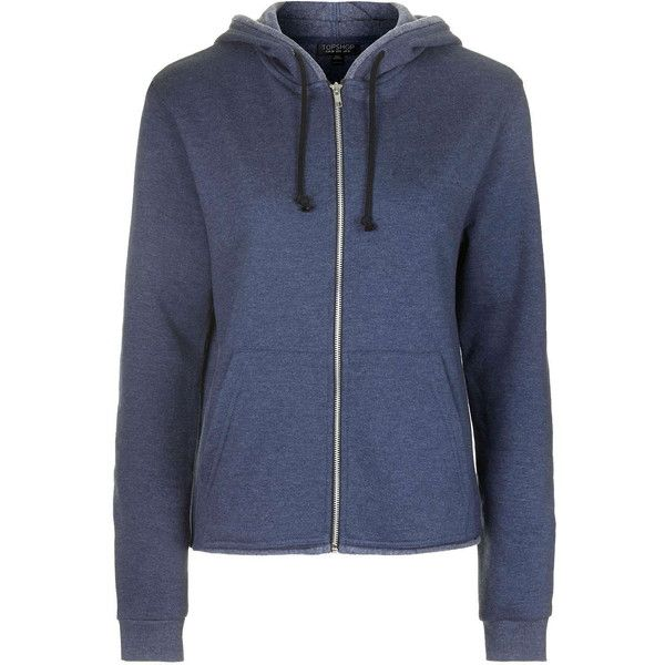 TopShop Frayed Hem Zip Up Hoodie (21 CAD) ❤ liked on Polyvore featuring tops, hoodies, jackets, outerwear, navy blue, navy hooded sweatshirt, navy zip up hoodie, hooded zip up sweatshirt, navy blue hoodie and navy blue hoodies