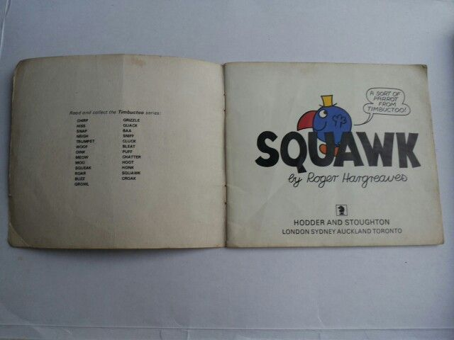 First page of Squawk : A Sort of Parrot from Timbuctoo! By Roger Hatgreaves