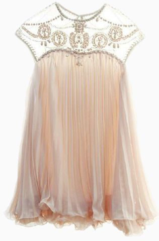 Pale Pink Beaded Chiffon Neckline Swing Dress by Niunya 01/08/14