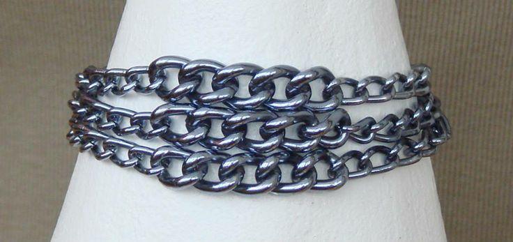 Vintage recycling - Винтажный ресайклинг ... Blue metal bracelet - Синий металлический браслет ... Metal and glass - Металл и стекло