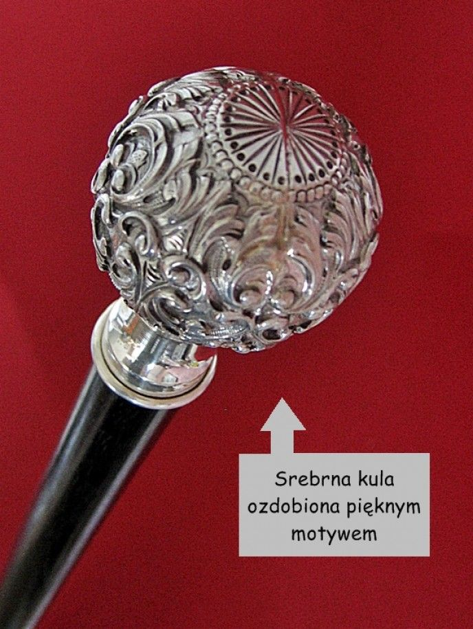Laska hebanowa z srebrną kulą do teatru lub kabaretu