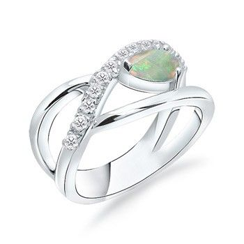 Angara Solitaire Pear Cabochon Opal Split Shank Ring in Platinum