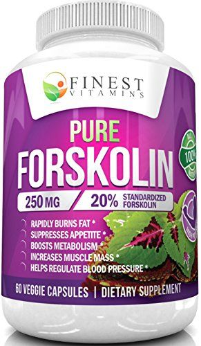 Pure Forskolin (Coleus forskohlii) Root Extract - 500mg Daily | 20% Standardized - All Natural Fat Burner and Appetite Suppressant for Weight Loss - by Finest Vitamins - 60 Capsules