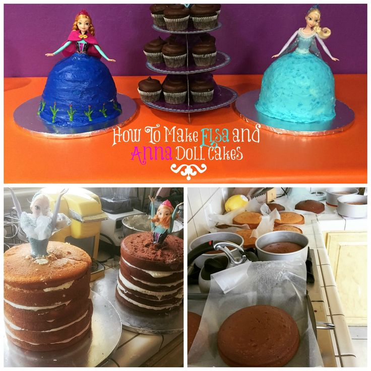 Elsa and Anna Doll Cakes- DIY | Half Crazy Mama