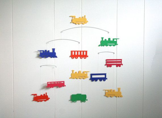 Train Engines Wagons Mobile • Red Orange Yellow Green and Blue •  train hanging mobile • steam engine • baby crib nursery • nordic scandinavian style • infant child room • baby shower gift l• ocomotive railroad• toddler room • custom color • bedroom ceiling paper art