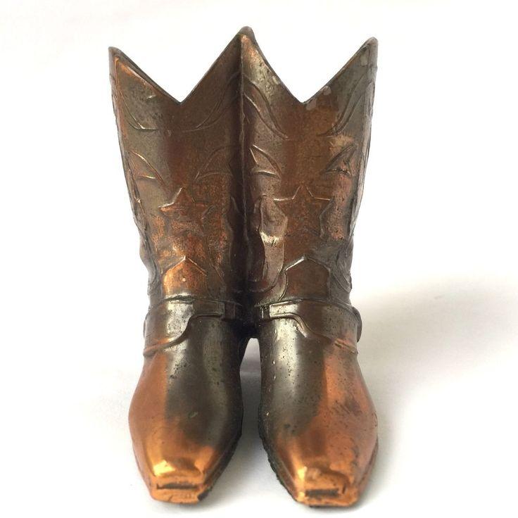 Trophy Craft Miniature Cowboy Boots Copper Figurine Vintage