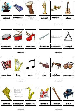 woordkaarten thema muziek