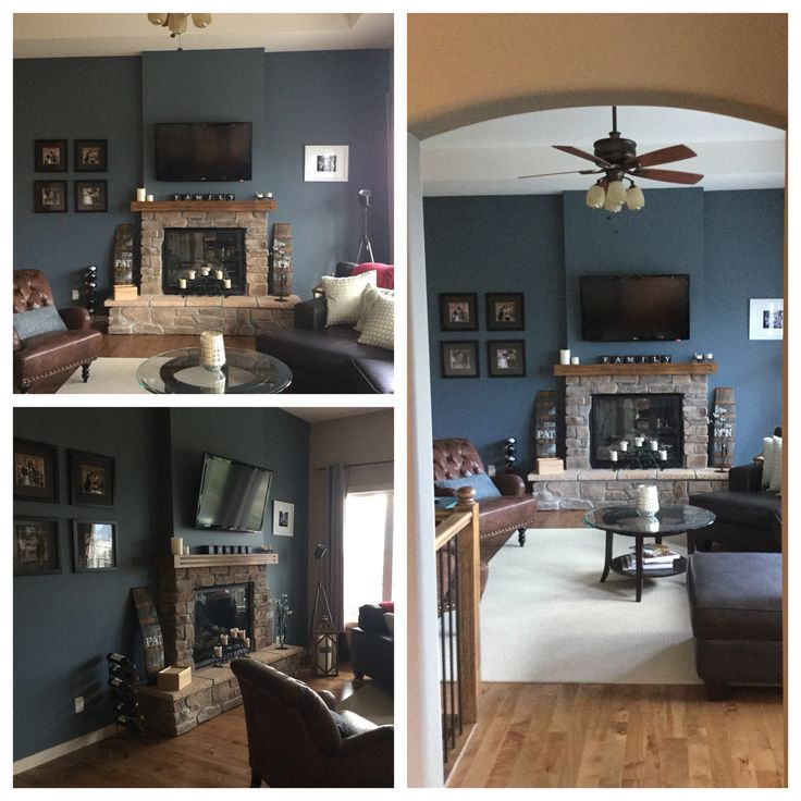 Feature Wall Sherwin Williams Slate Tile Blue Grey