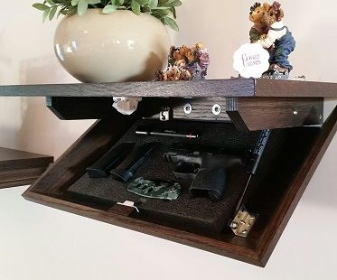 Great Idea, Hidden gun cabinet wall shelf. I need this.