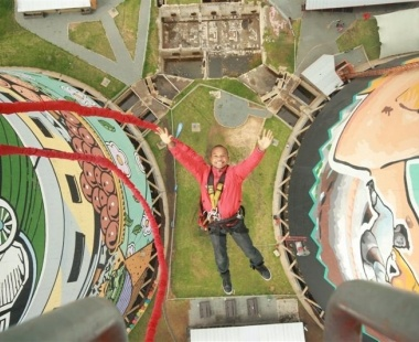 Bungee jumping from Soweto's Orlando Cooling Towers in South Africa