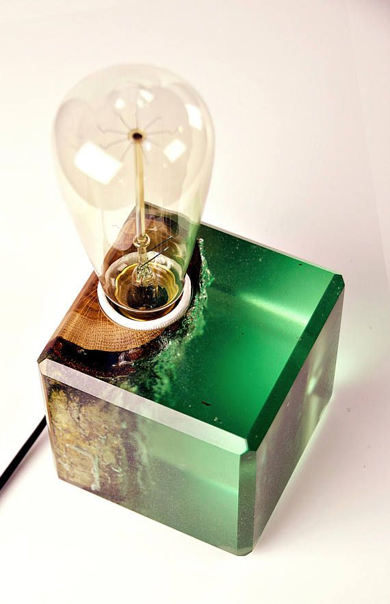 Oak In Green Epoxy Lamp Warm Light Table Lamp Wood Lamp