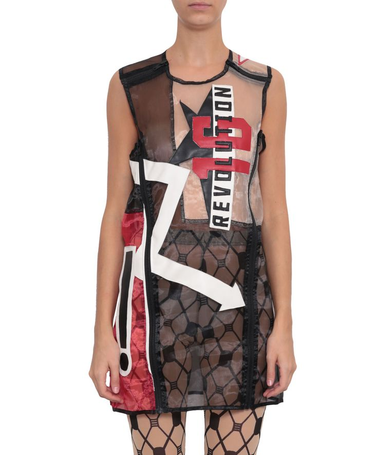 KTZ spring/summer 2016 sleeveless round-neck short dress, with faux leather patch and zip detail. Composition: 100% polyester