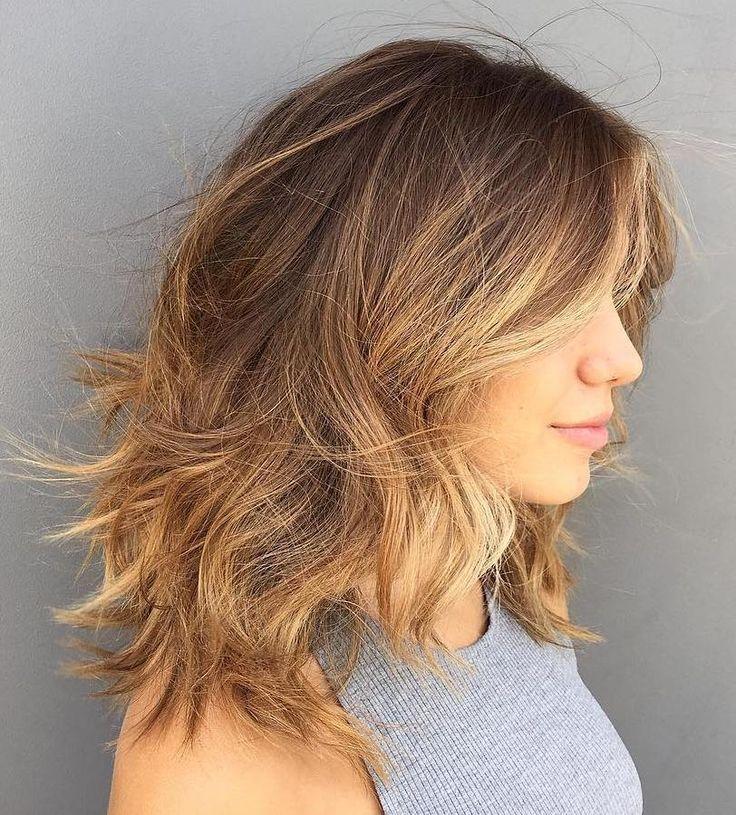 Medium+Brown+Blonde+Shag+For+Thick+Hair