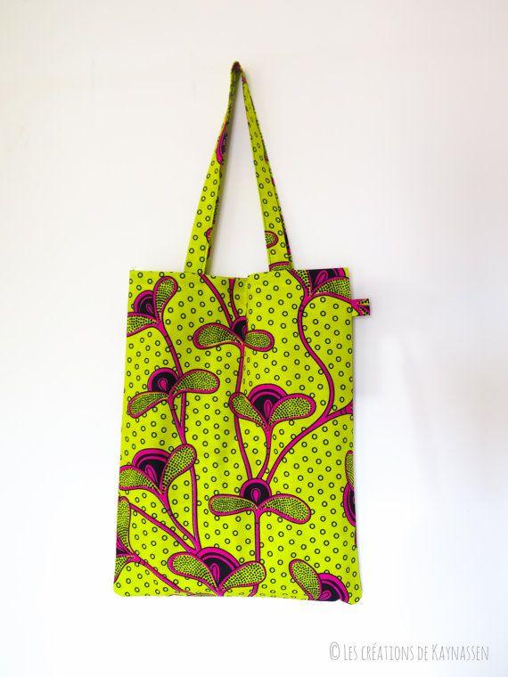 Mooie tote tas stof Afrikaanse wax - geel, roze en zwart