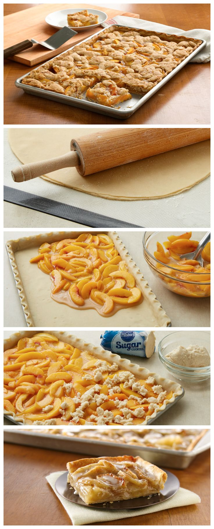 Here's a crowd-size option, Peach Slab Pie! Made with pie crust, cookie dough and fresh peaches, it doesn't get any better than this.