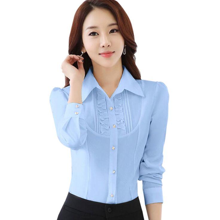 Cheap 2016 mujeres del resorte del desgaste del trabajo del ol del laciness de manga larga blusa delgado formal elegante mujer oficina gasa tops plus size, Compro Calidad Blusas y Camisas directamente de los surtidores de China: