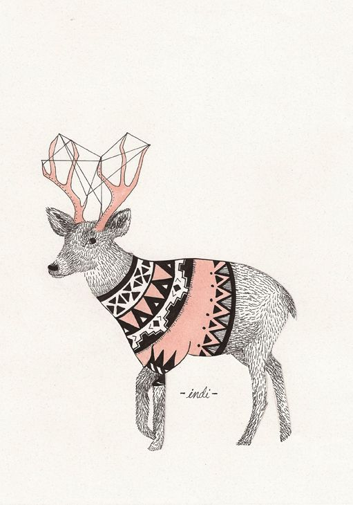 Animal Illustrations by Indi Maverick, via Behance.  Use of patterns vary to create contrast and also helps define the natural pattern or body shape within the animal. Colour adds that bit of an attractive touch to the finish.