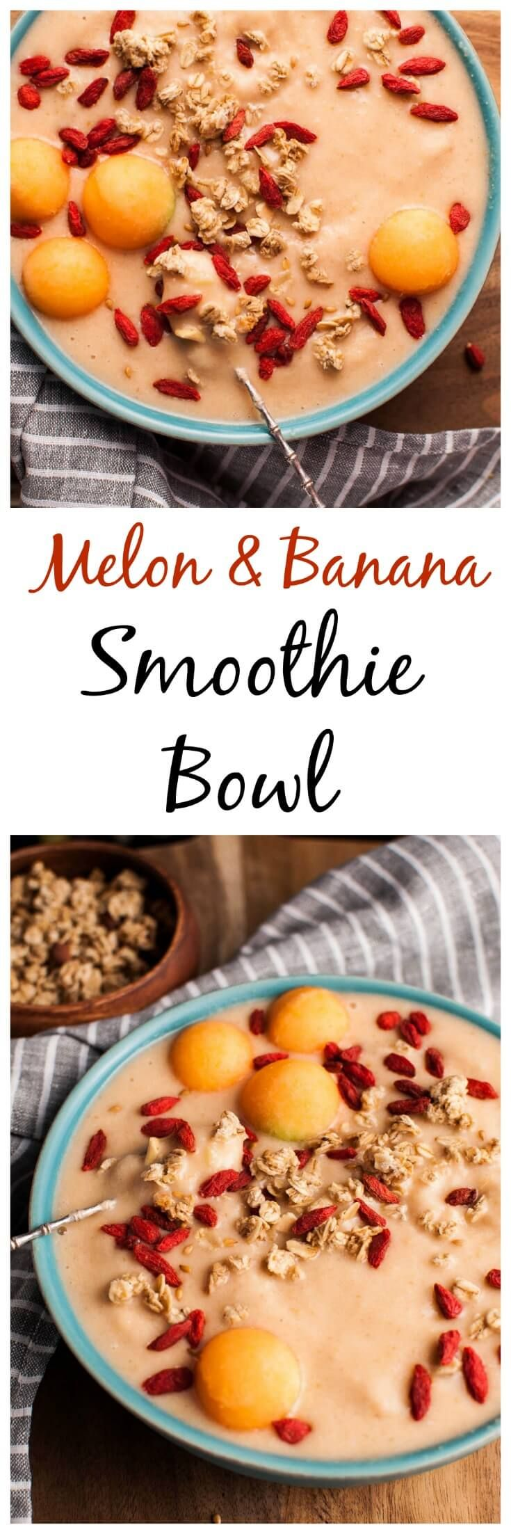 Make your breakfast better with this healthy and refreshing cantaloupe and banana smoothie bowl!
