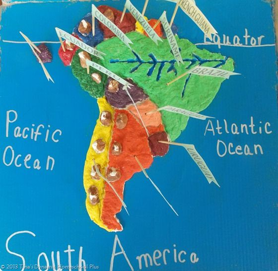South America Geography Salt Dough Map + Printable Pennants