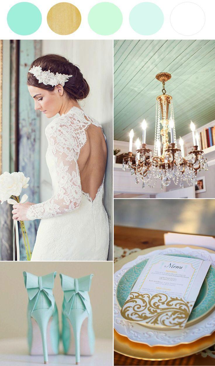 Idées de décorations de mariage vert eau et blanc